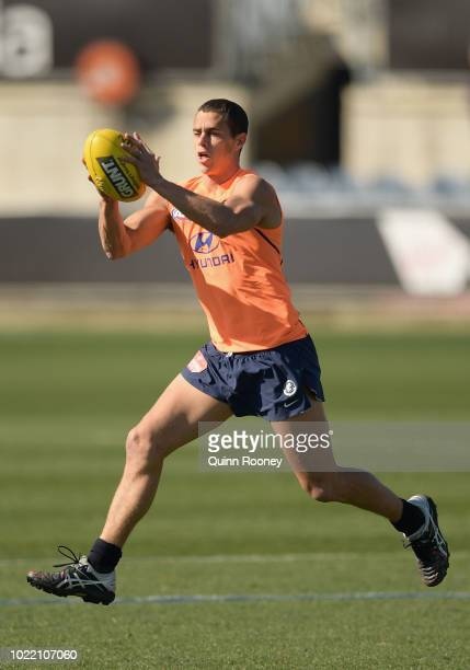 Ed Curnow of the Blues marks during a Carlton Blues AFL training session at Ikon Park on August 24 2018 in Melbourne Australia