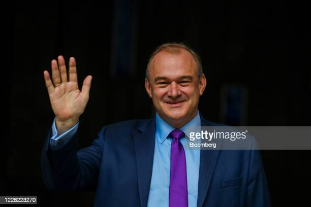 Ed Davey, leader of the Liberal Democrats, gestures following a news conference announcing his election as the new leader of the opposition party in...
