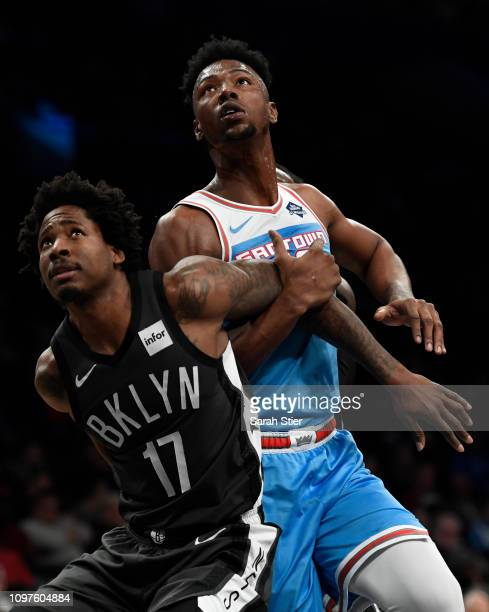 Ed Davis of the Brooklyn Nets guards Harry Giles of the Sacramento Kings during the first quarter of the game at Barclays Center on January 21 2019...