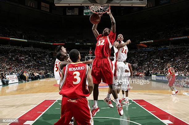 Ed Davis of the East team slam dunks during the McDonald's AllAmerican High School game against the West team on March 26 2008 at the Bradley Center...