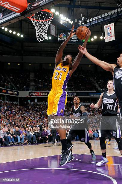 Ed Davis of the Los Angeles Lakers grabs a rebound against the Sacramento Kings on April 13 2015 at Sleep Train Arena in Sacramento California NOTE...