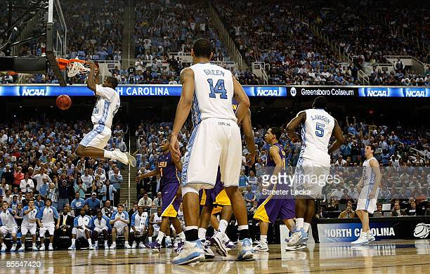 Ed Davis of the North Carolina Tar Heels dunks against the Louisiana State University Tigers during the second round of the NCAA Division I Men's...