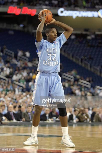 Ed Davis of the North Carolina Tar Heels looks to pass the ball during the game against the Michigan State Spartans on December 3 2008 at Ford Field...