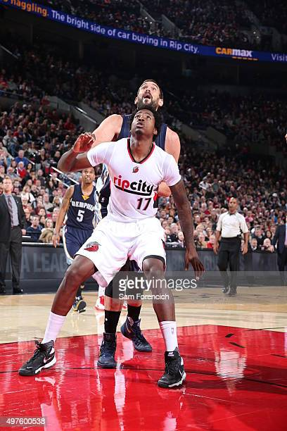 Ed Davis of the Portland Trail Blazers and Marc Gasol of the Memphis Grizzlies fight for the position during the game on November 5 2015 at the Moda...