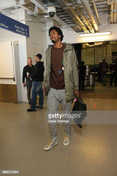 Ed Davis of the Portland Trail Blazers arrives at the arena before the game against the Minnesota Timberwolves on December 18 2017 at Target Center...
