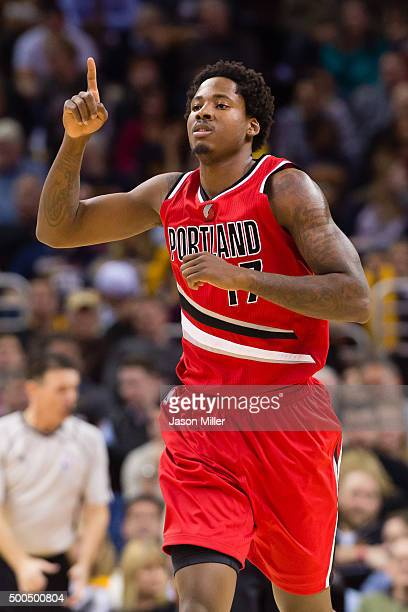 Ed Davis of the Portland Trail Blazers celebrates after scoring during the first half against the Cleveland Cavaliers at Quicken Loans Arena on...