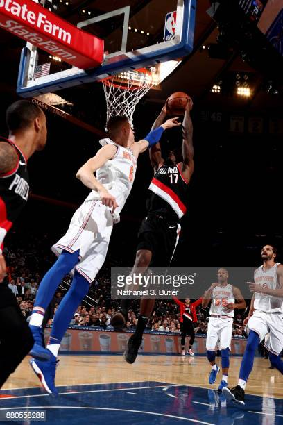 Ed Davis of the Portland Trail Blazers dunks the ball during the game against the New York Knicks on November 27 2017 at Madison Square Garden in New...
