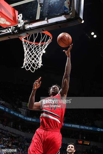 Ed Davis of the Portland Trail Blazers goes for the layup against the Minnesota Timberwolves during the game on December 5 2015 at Target Center in...
