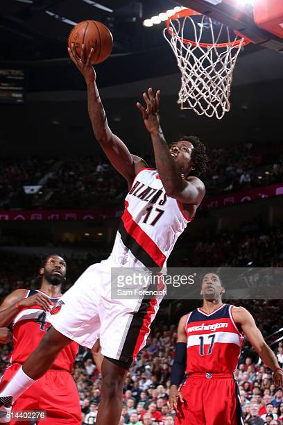 Ed Davis of the Portland Trail Blazers goes for the layup during the game against the Washington Wizards on March 8 2016 at the Moda Center Arena in...