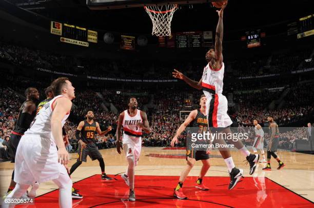 Ed Davis of the Portland Trail Blazers goes to the basket against the Atlanta Hawks on February 13 2017 at the Moda Center in Portland Oregon NOTE TO...