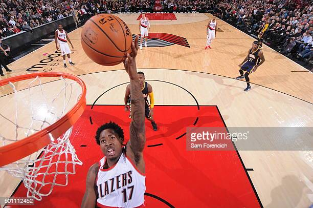 Ed Davis of the Portland Trail Blazers goes up for a dunk against the Indiana Pacers on December 3 2015 at the Moda Center Arena in Portland Oregon...