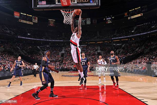 Ed Davis of the Portland Trail Blazers goes up for a dunk against the New Orleans Pelicans on December 14 2015 at the Moda Center in Portland Oregon...