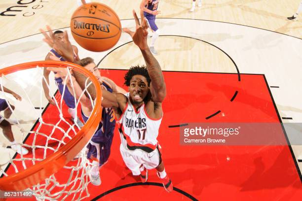Ed Davis of the Portland Trail Blazers grabs the rebound during a preseason game against the Phoenix Suns on October 3 2017 at the Moda Center in...