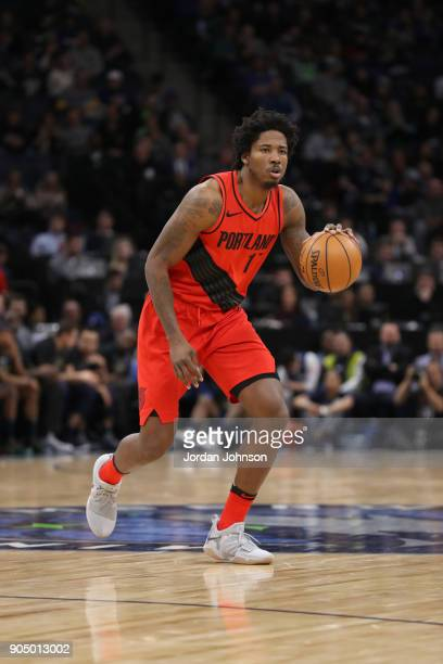 Ed Davis of the Portland Trail Blazers handles the ball against the Minnesota Timberwolves on January 14 2018 at Target Center in Minneapolis...