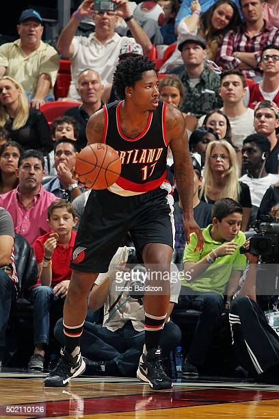 Ed Davis of the Portland Trail Blazers handles the ball during the game against the Miami Heat on December 20 2015 at AmericanAirlines Arena in Miami...