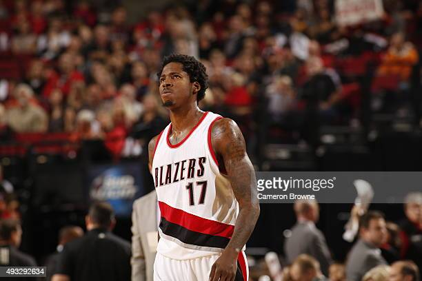 Ed Davis of the Portland Trail Blazers looks on during the game against the Utah Jazz on October 18 2015 at the Moda Center in Portland Oregon NOTE...