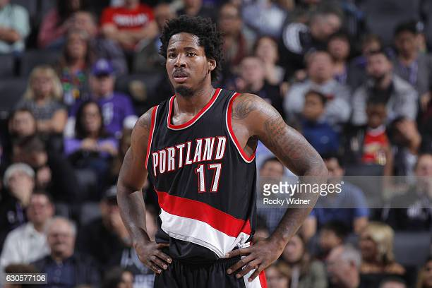 Ed Davis of the Portland Trail Blazers looks on during the game against the Sacramento Kings on December 20 2016 at Golden 1 Center in Sacramento...