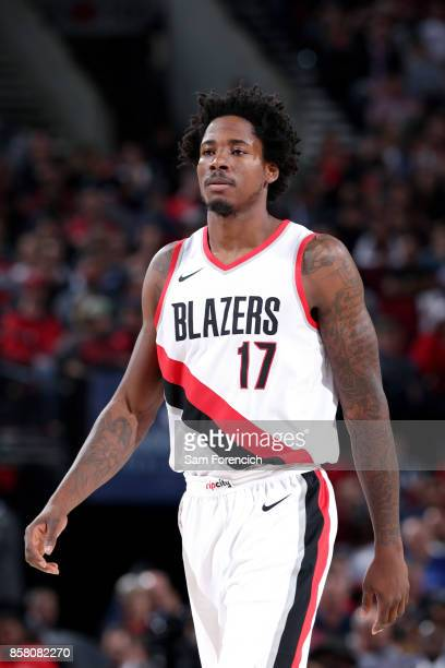 Ed Davis of the Portland Trail Blazers looks on during the game against the Toronto Raptors during a preseason game on October 5 2017 at the Moda...
