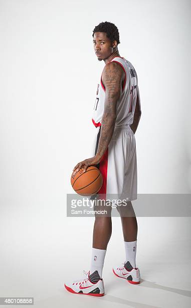 Ed Davis of the Portland Trail Blazers participates in a photo shoot after signing with the team July 9 2015 at the Trail Blazer Practice Facility in...