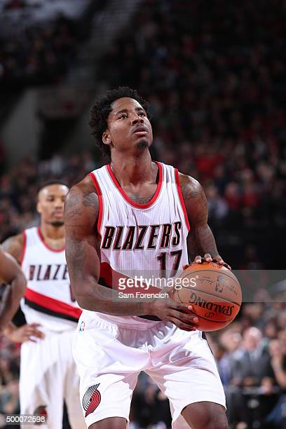 Ed Davis of the Portland Trail Blazers shoots a foul shot against the Dallas Mavericks on December 1 2015 at the Moda Center Arena in Portland Oregon...
