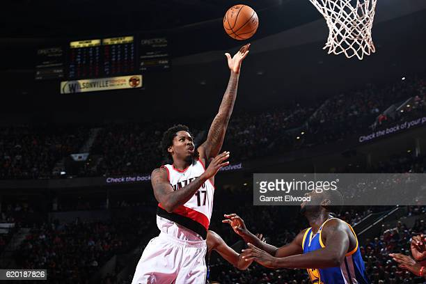 Ed Davis of the Portland Trail Blazers shoots a lay up during the game against the Golden State Warriors on November 1 2016 at Moda Center in...