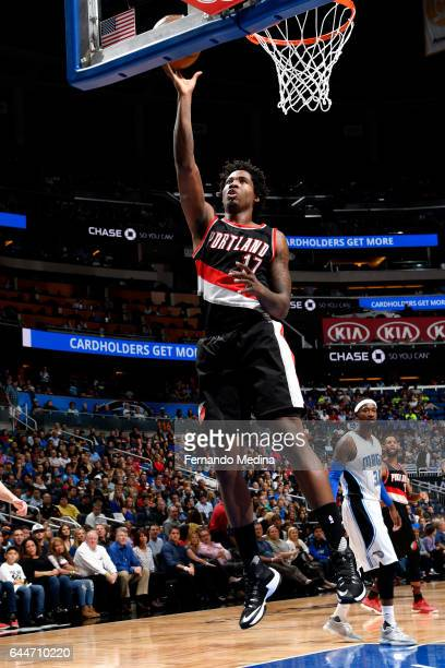 Ed Davis of the Portland Trail Blazers shoots a lay up during the game against the Orlando Magic on February 23 2017 at Amway Center in Orlando...