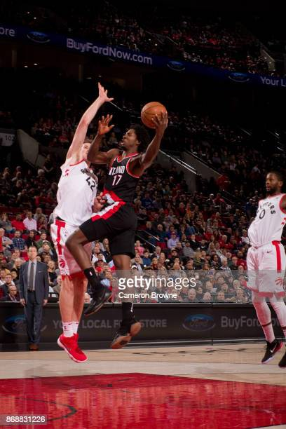 Ed Davis of the Portland Trail Blazers shoots the ball against the Toronto Raptors on October 30 2017 at the Moda Center Arena in Portland Oregon...