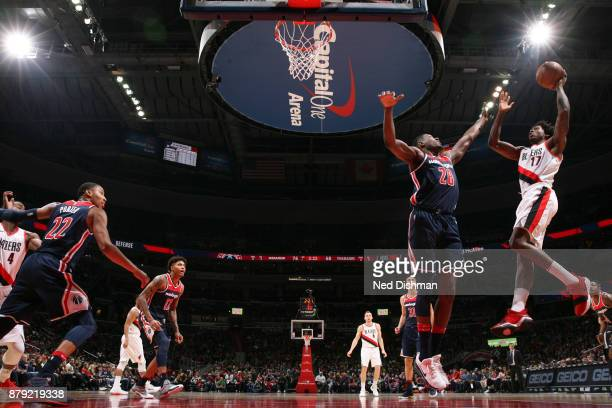 Ed Davis of the Portland Trail Blazers shoots the ball against the Washington Wizards on November 25 2017 at Capital One Arena in Washington DC NOTE...