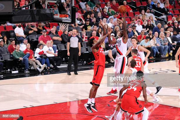 Ed Davis of the Portland Trail Blazers shoots the ball during the game against the Toronto Raptors during a preseason game on October 5 2017 at the...