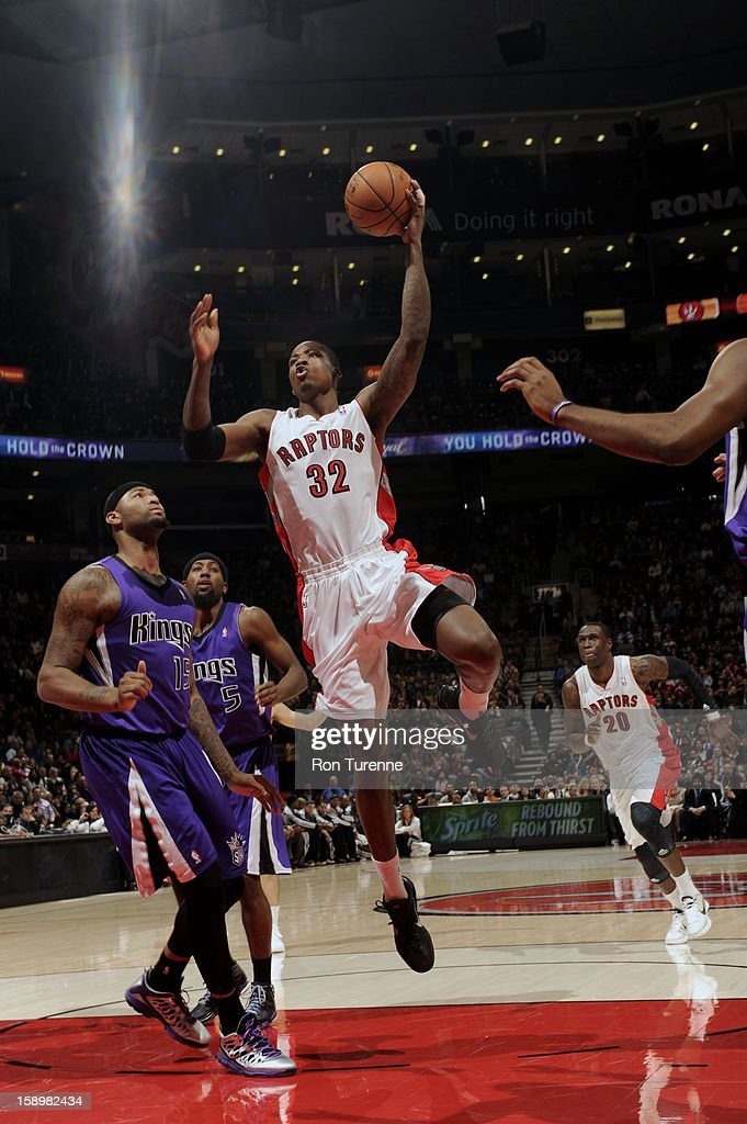 Ed Davis #32 of the Toronto Raptors goes up for the shot against the Sacramento Kings during the game on January 4, 2013 at the Air Canada Centre in Toronto, Ontario, Canada.