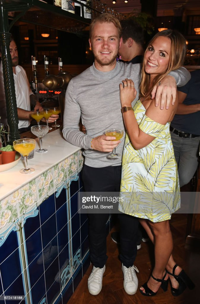 Ed Drewett (L) and Daisy England attend a pre-opening dinner hosted by Ed Drewett at Malibu Kitchen, at The Ned, London on April 24, 2017 in London, England.