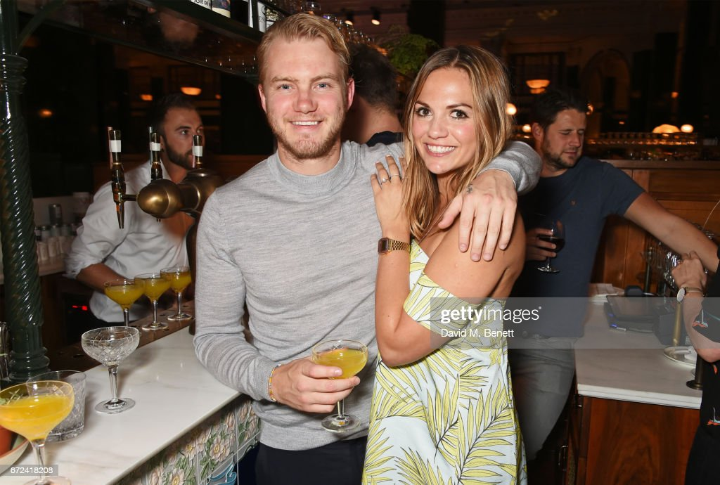Ed Drewett (L) and Katy England attend a pre-opening dinner hosted by Ed Drewett at Malibu Kitchen, at The Ned, London on April 24, 2017 in London, England.