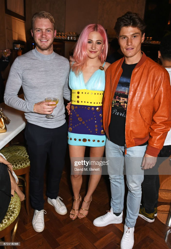 Ed Drewett, Pixie Lott and Oliver Cheshire attend a pre-opening dinner hosted by Ed Drewett at Malibu Kitchen, at The Ned, London on April 24, 2017 in London, England.