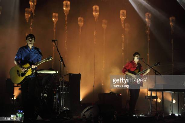 Ed Droste and Daniel Rossen of Grizzly Bear perform on stage at Brixton Academy on October 22 2012 in London United Kingdom