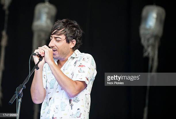Ed Droste of Grizzly Bear performs at Day 4 of the Latitude Festival at Henham Park Estate on July 21 2013 in Southwold England