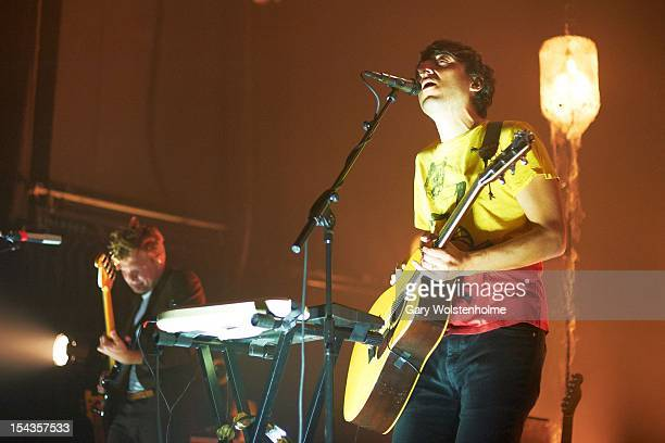 Ed Droste of Grizzly Bear performs on stage at Manchester Academy on October 18 2012 in Manchester United Kingdom