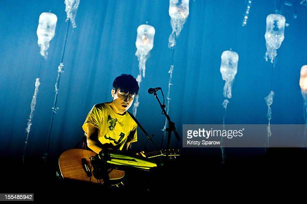Ed Droste of Grizzly Bear performs onstage during the Pitchfork Music Festival at the Grande Halle de la Villette on November 3 2012 in Paris France