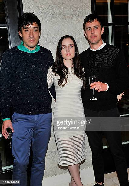Ed Droste Zoe Lister Jones and Chad McPhail attend Nicholas Kirkwood dinner hosted by Emma Roberts and Jake Shears at Hotel BelAir on March 27 2014...
