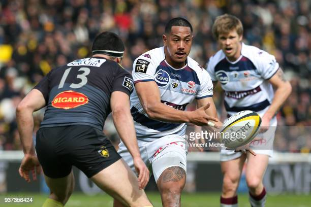 Ed Fidow of Bordeaux Begles during the Top 14 match between La Rochelle and Bordeaux Begles at Stade Marcel Deflandre on March 24 2018 in La Rochelle...