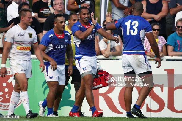 Ed Fidow of Samoa celebrates with team mates during the Germany v Samoa Rugby World Cup 2019 qualifying match on July 14 2018 in Heidelberg Germany