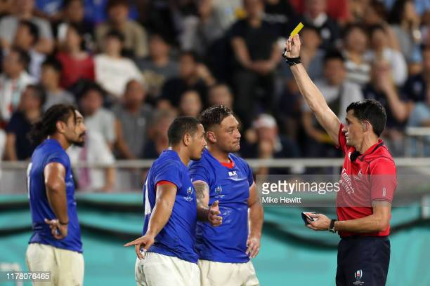 Ed Fidow of Samoa is shown a yellow card by referee Pascal Gauzere during the Rugby World Cup 2019 Group A game between Scotland and Samoa at Kobe...