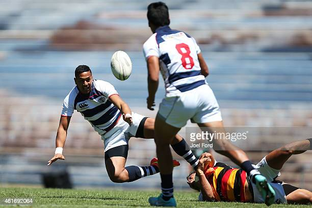 Ed Fidow offloads in the tackle during the New Zealand National Rugby Sevens at Rotorua International Stadium on January 18 2015 in Rotorua New...