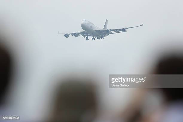 Ed Force One the Boeing 747 passenger plane of British heavy metal rockers Iron Maiden flies past after taking off while piloted by band singer Bruce...