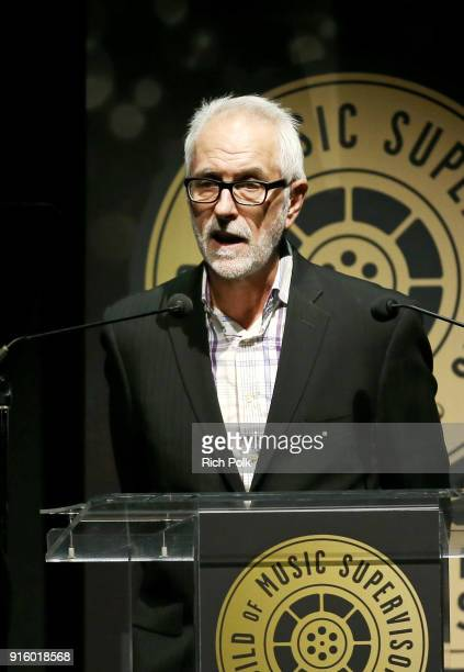 Ed Gerrard speaks onstage during the 8th Annual Guild of Music Supervisors Awards at The Theatre at Ace Hotel on February 8 2018 in Los Angeles...