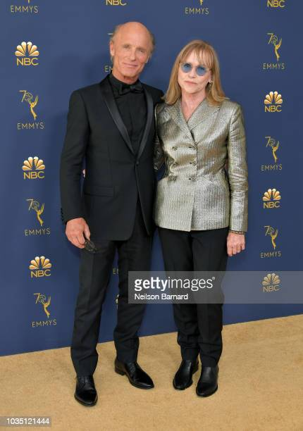 Ed Harris and Amy Madigan attend the 70th Emmy Awards at Microsoft Theater on September 17 2018 in Los Angeles California