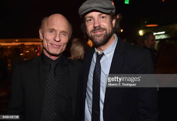 Ed Harris and Jason Sudeikis attend the after party for the premiere of Netflix's Kodachrome at ArcLight Cinemas on April 18 2018 in Hollywood...