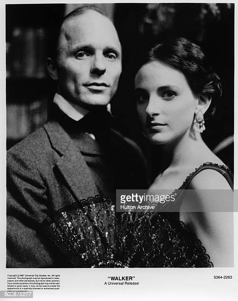 Ed Harris and Marlee Matlin pose for the movie Walker circa 1987