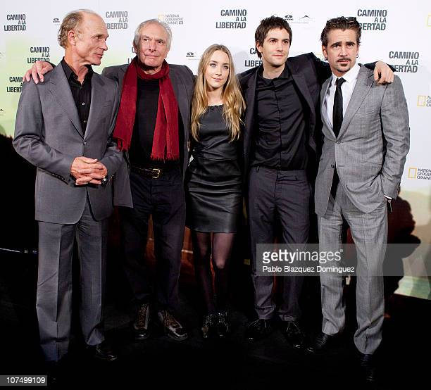Ed Harris Director Peter Weir and Saoirse Ronan Jim Sturgess and Colin Farrell attend The Way Back premiere at Capitol Cinema on December 9 2010 in...
