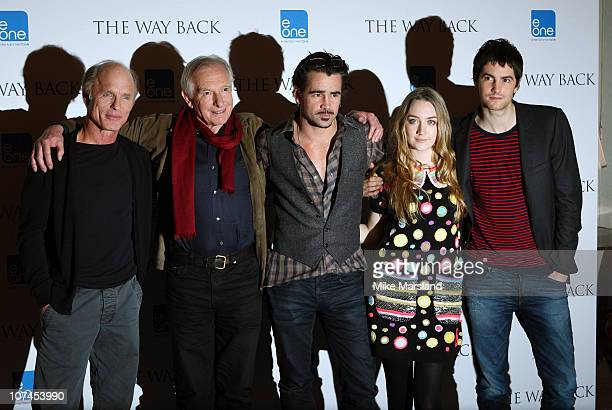 Ed Harris director Peter Weir Colin Farrell Saoirse Ronan and Jim Sturgess promote film 'The Way Back' at Claridges Hotel on December 8 2010 in...