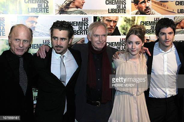 US Ed Harris Irish actor Colin Farrell Australian film director Peter Weir Irish actress Saoirse Ronan and British actor Jim Sturgess pose during the...